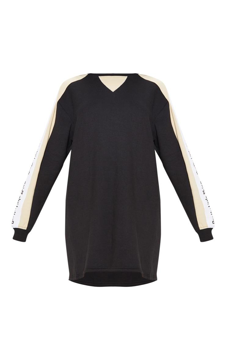 PRETTYLITTLETHING Black Slogan Contrast Sweater Jumper Dress  3
