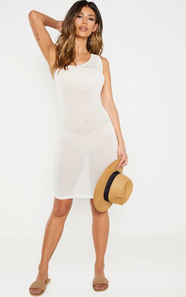 Cream Knitted Light Weight Asymmetric Dress  1