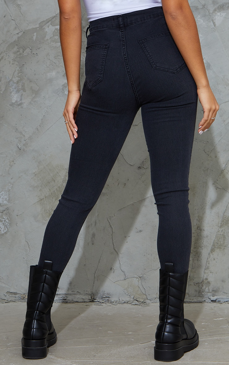 Petite Black Washed Disco Fit Skinny Jeans 3