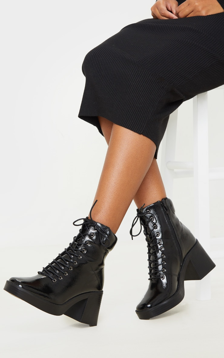 Black Square Toe Chunky Lace Up Ankle Boot 1