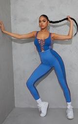 Blue Contrast Panel Seam Detail Lace Up Jumpsuit 1