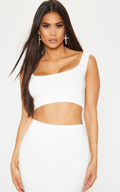 White Slinky Round Neck Sleeveless Crop Top