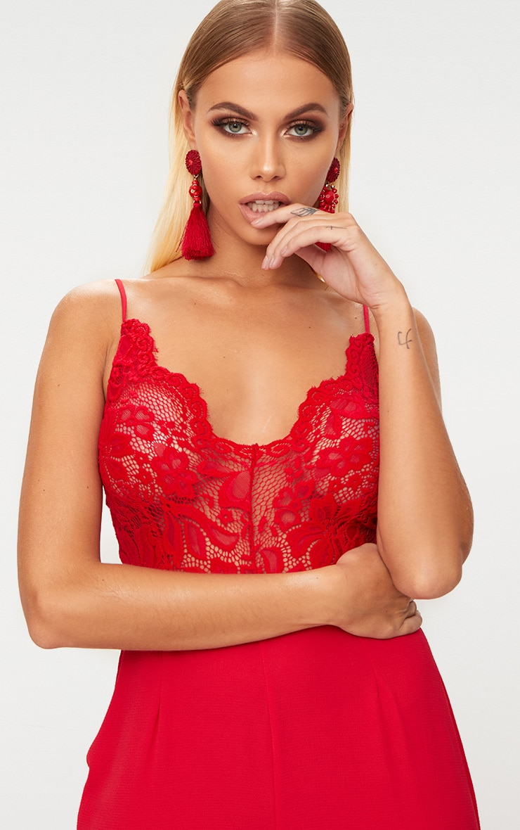 Red Lace Wide Leg Jumpsuit 5