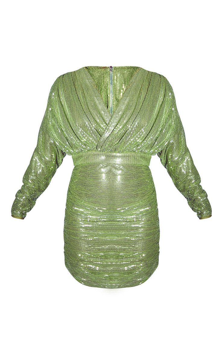 Olive Sequin Long Sleeve Wrap Detail Bodycon Dress 5
