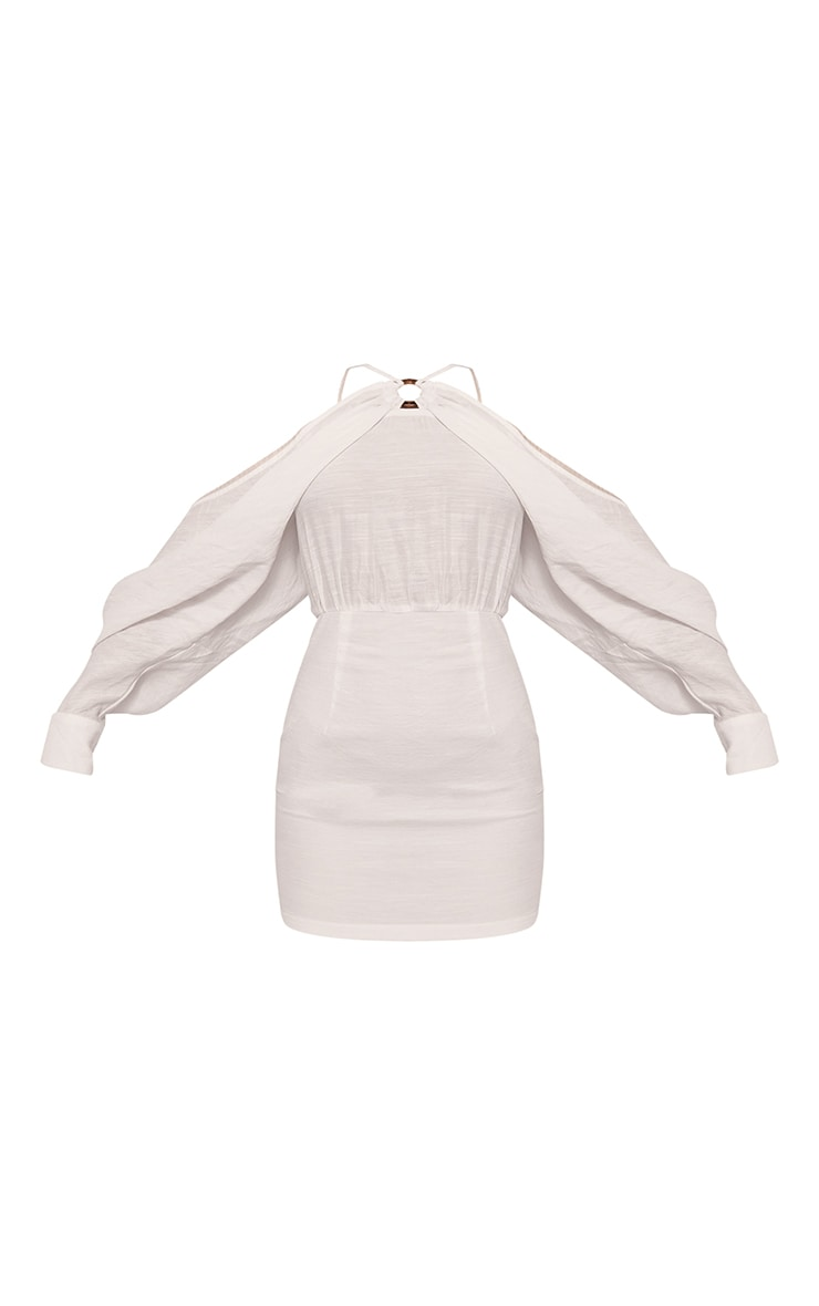 Robe moulante effet lin blanche à bretelles et manches chauve-souris 5