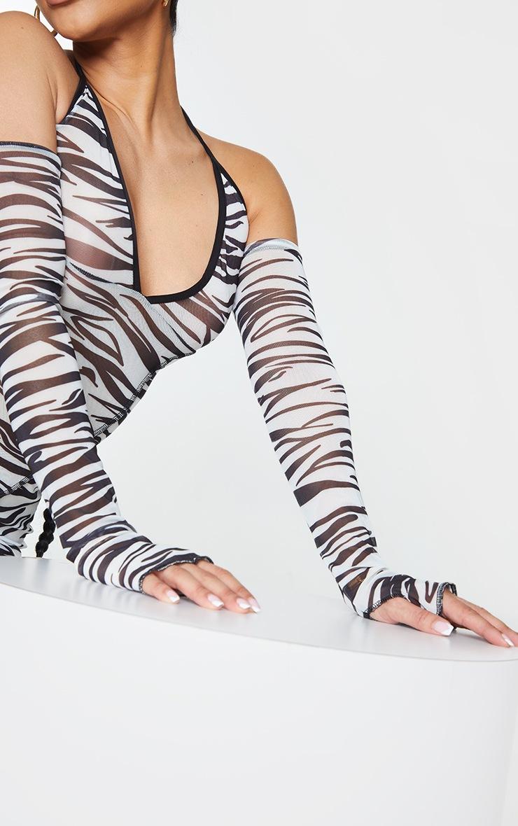 Shape White Zebra Print Mesh Halterneck Bardot Bodycon Dress 4