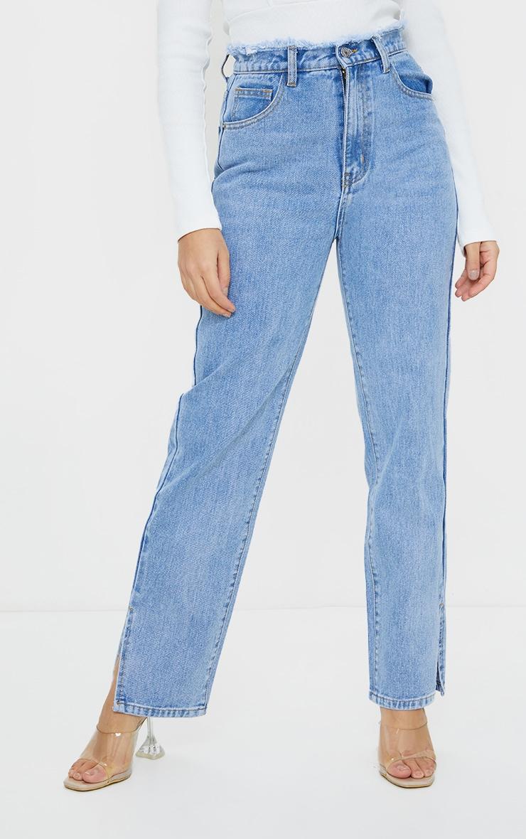 Petite Light Blue Distressed Waistband Split Hem Jeans 2