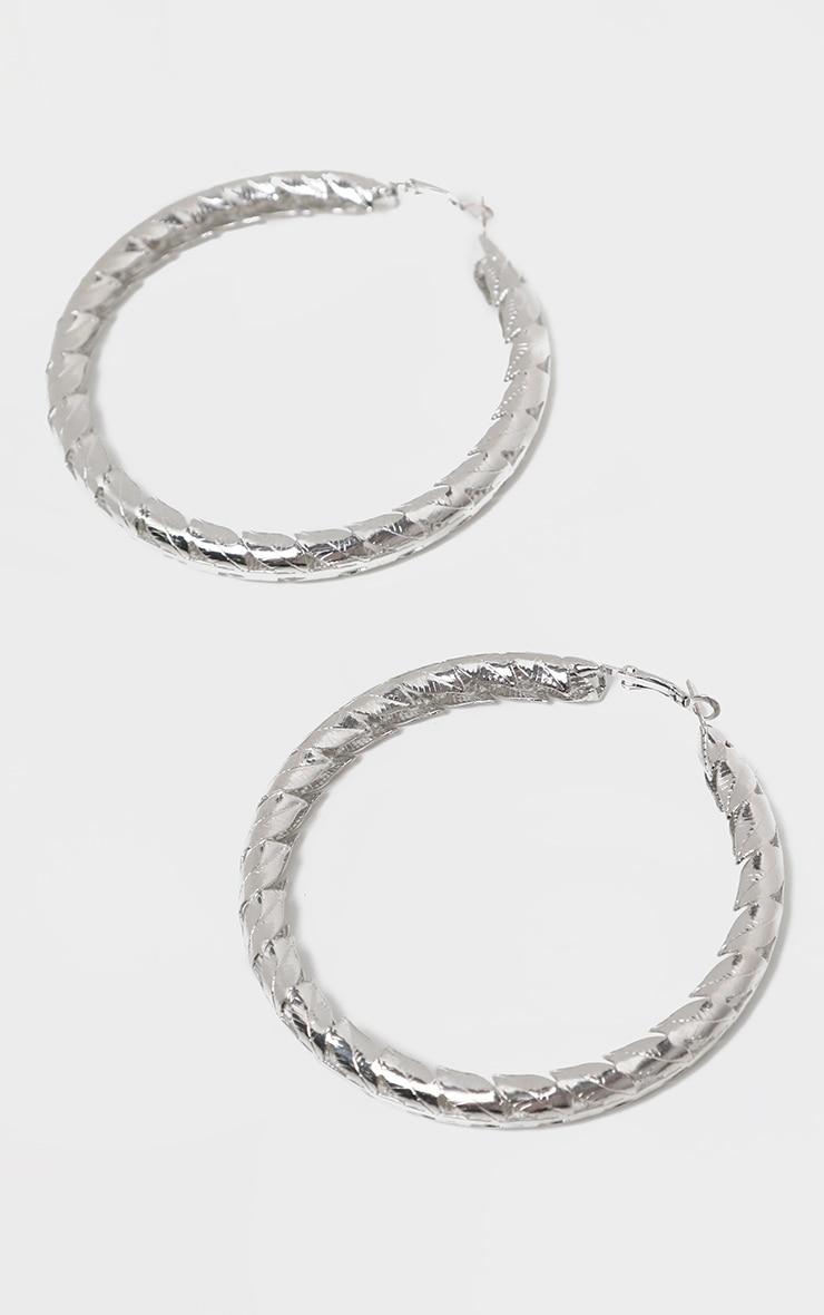 Silver Leaf Hoop Earrings 2