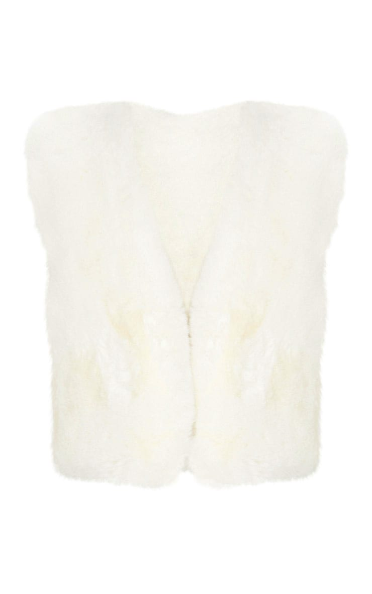 Cream Faux Fux Crop Gilet 3