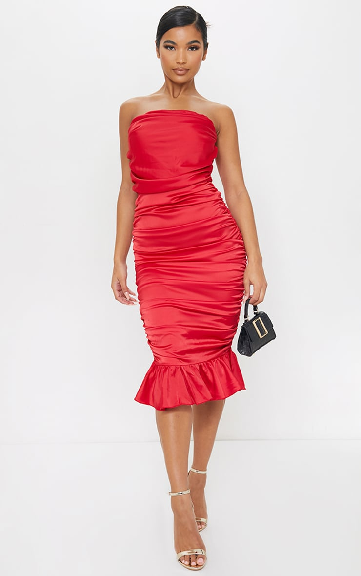 Red Satin Bandeau Ruched Frill Hem Midi Dress