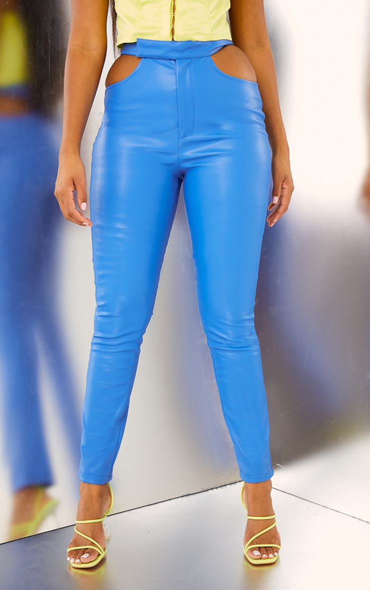 Bright Blue Faux Leather Cut Out Detail Skinny Trousers 2