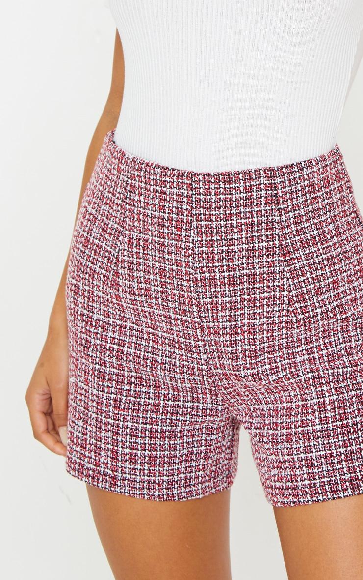 Short à pinces en tweed bordeaux 6