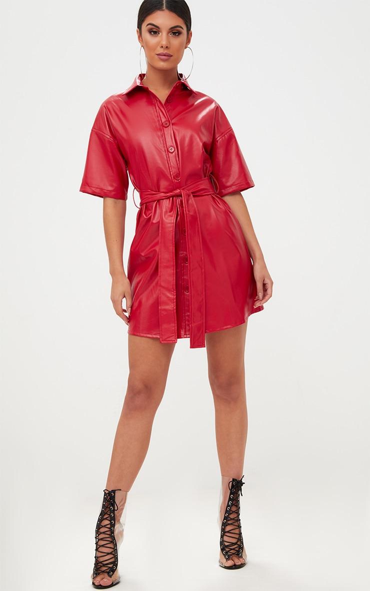 Red Button Up Tie Waist PU Shirt Dress 4