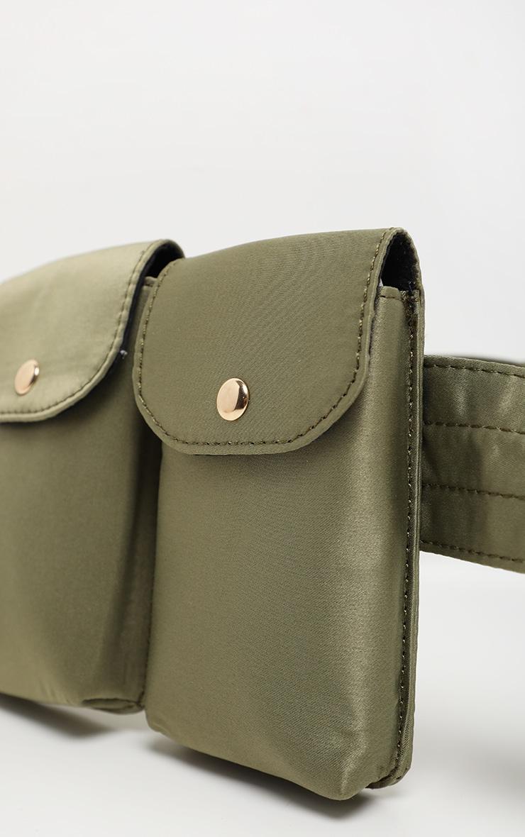 Khaki Triple Pocket Nylon Utility Belt Bag 4