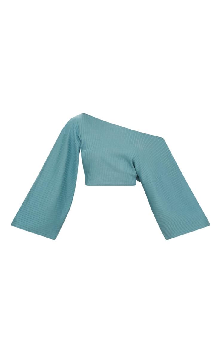 Crop top bleu minéral à épaule nue 3