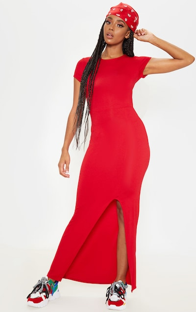 Red Short Sleeve Split Maxi Dress