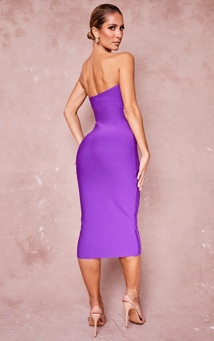 Purple Bandage Bandeau Zip Detail Midi Dress 2
