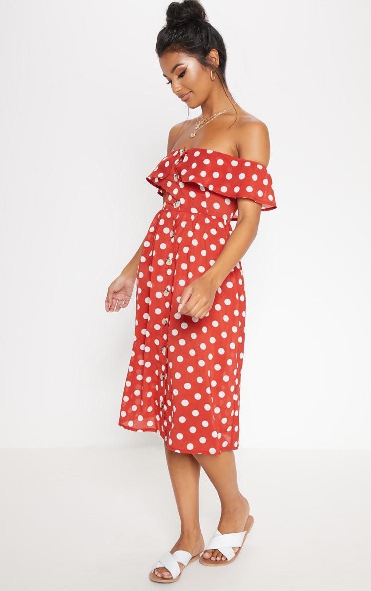 Burnt Orange Polka Dot Bardot Button Up Midi Dress 4
