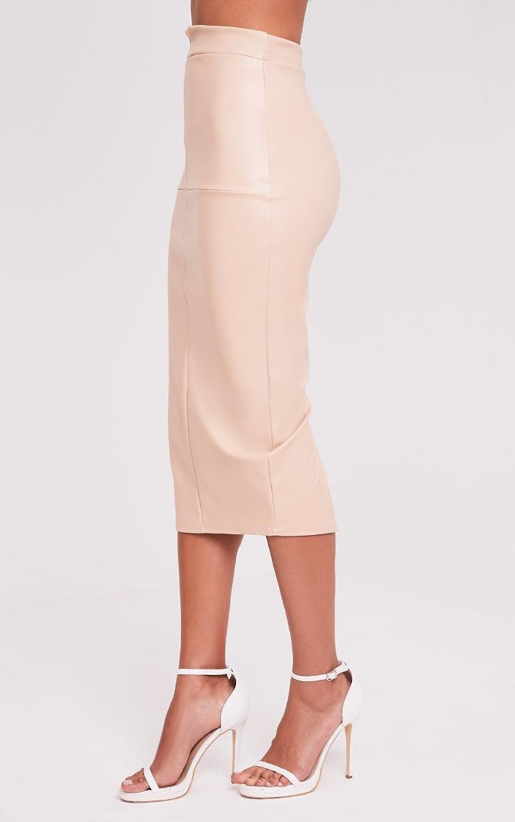 Eva Nude Faux Leather Panel Midi Skirt 4