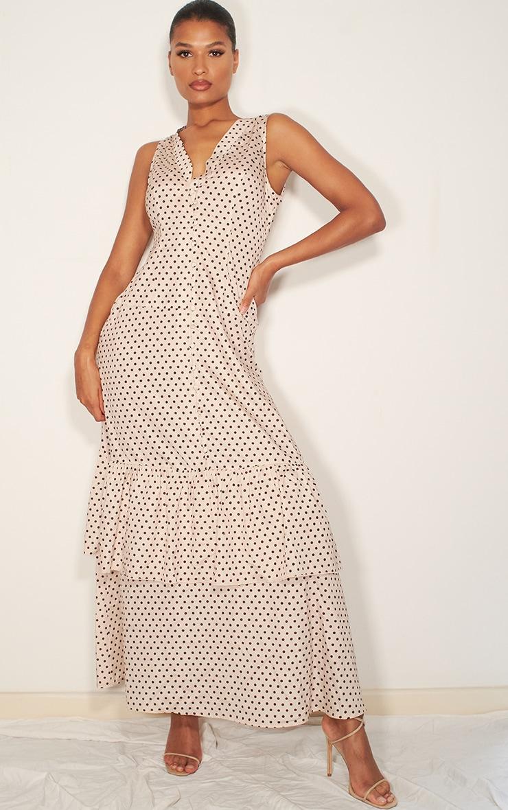 Nude Polka Dot Drop Hem Maxi Dress 1