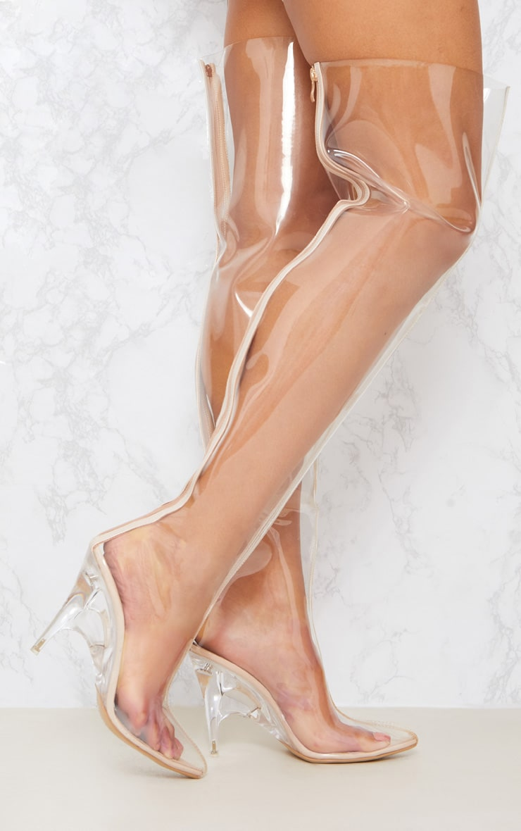 Clear Thigh High Heeled Boots 2