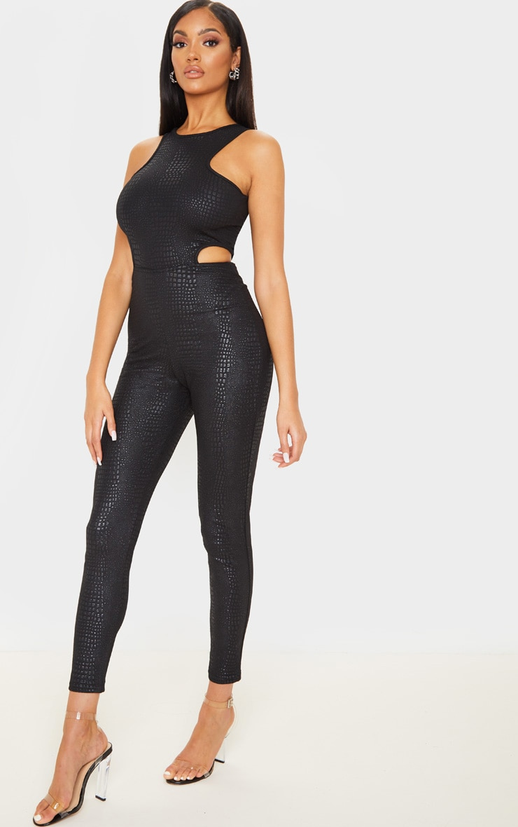 Black Textured Croc Cut Out Jumpsuit 4