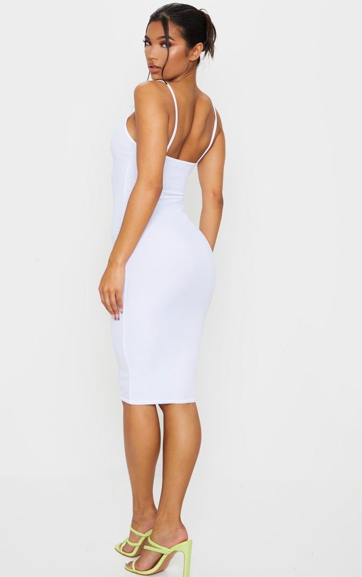 White Ribbed Plunge Bodycon Dress 2