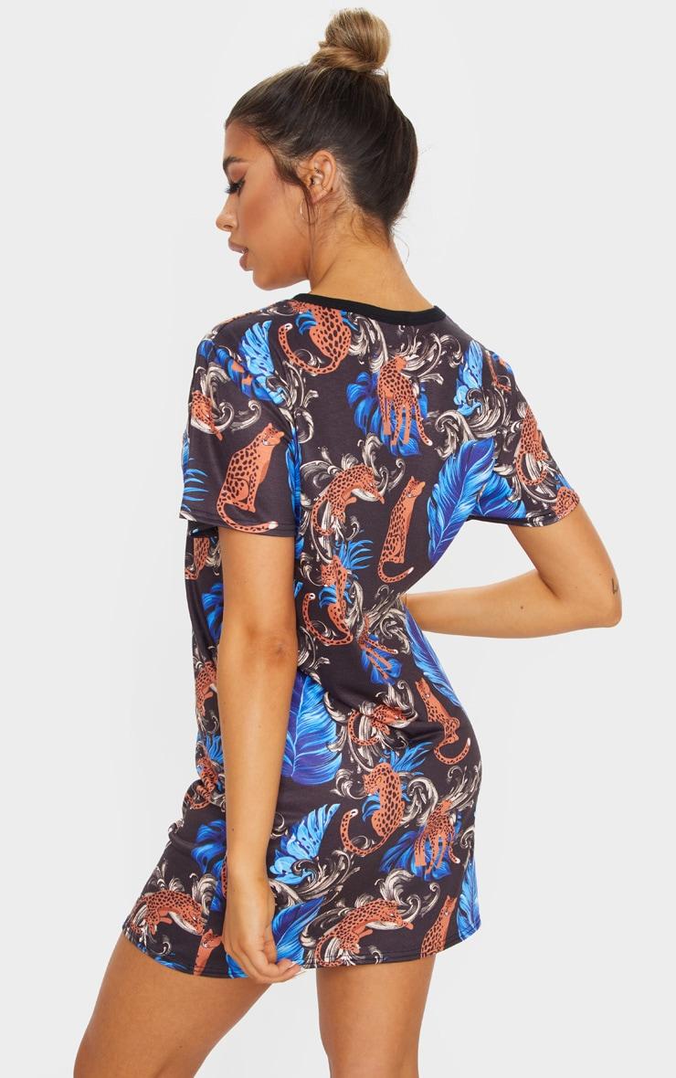 Black Baroque Leopard Print T-Shirt Dress 2