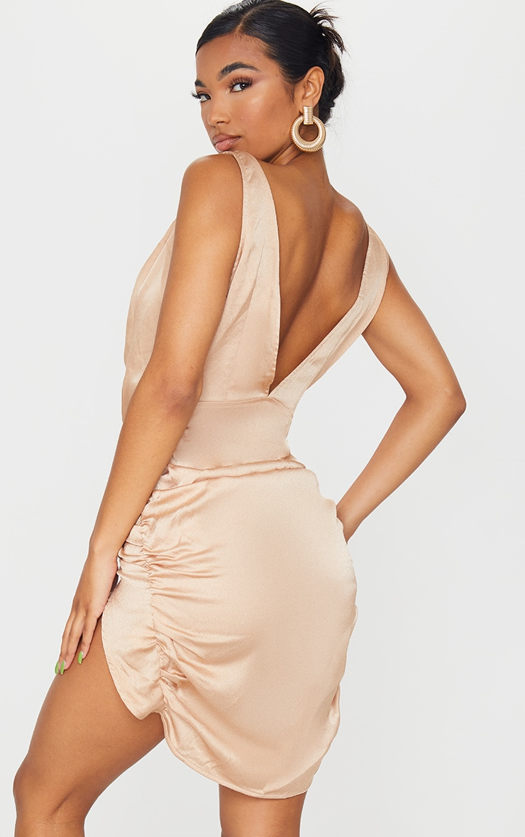 Stone Satin Plunge Wrap Ruched Bodycon Dress 2