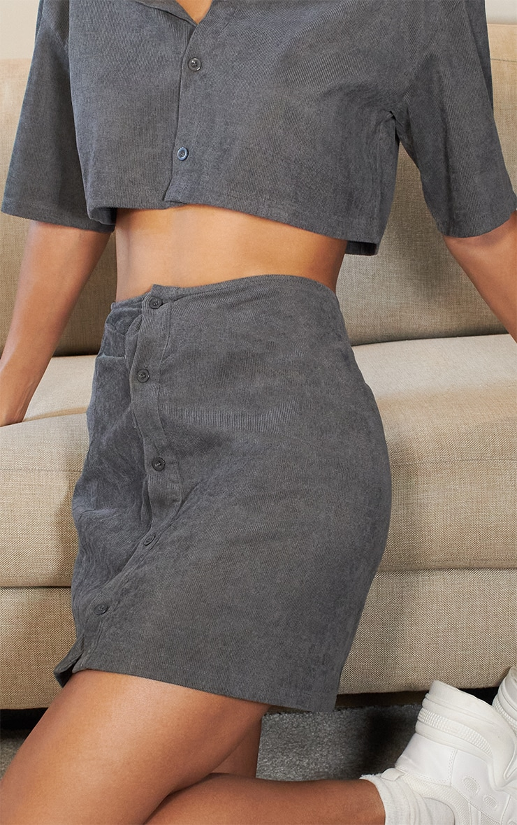 Charcoal Grey Cord Button Front Mini Skirt 6