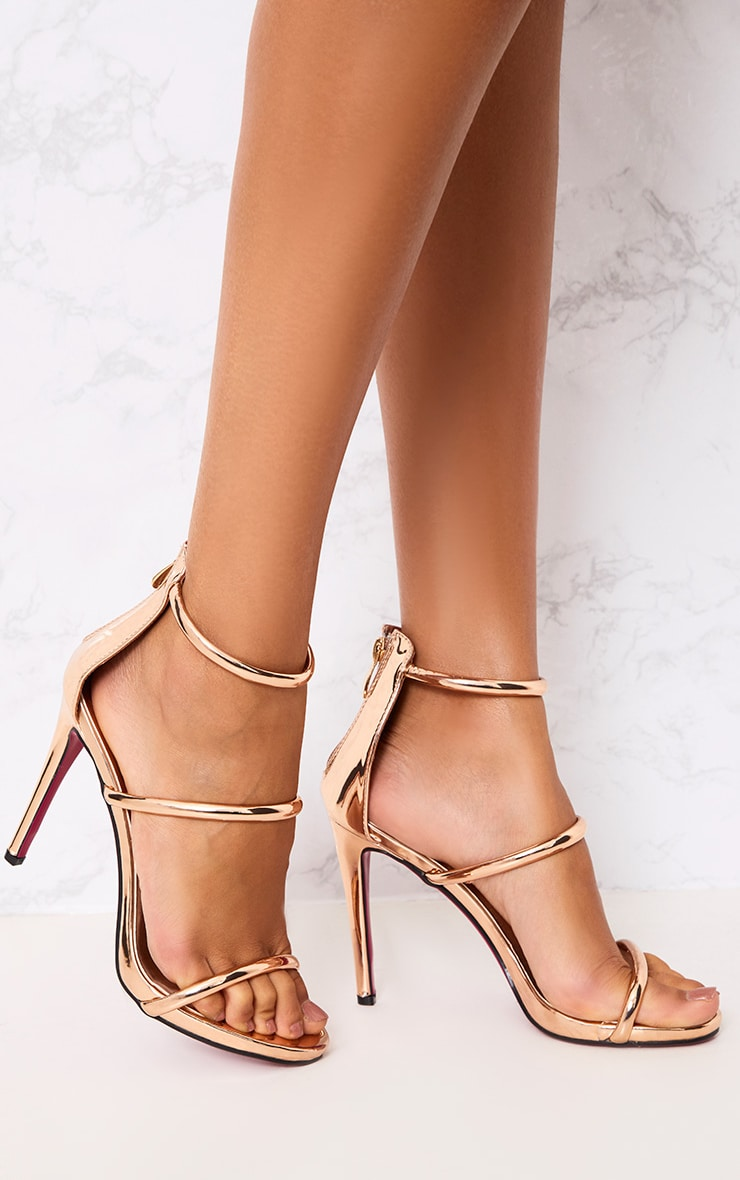 Marthea Rose Gold Tube Strap Heeled Sandals 1