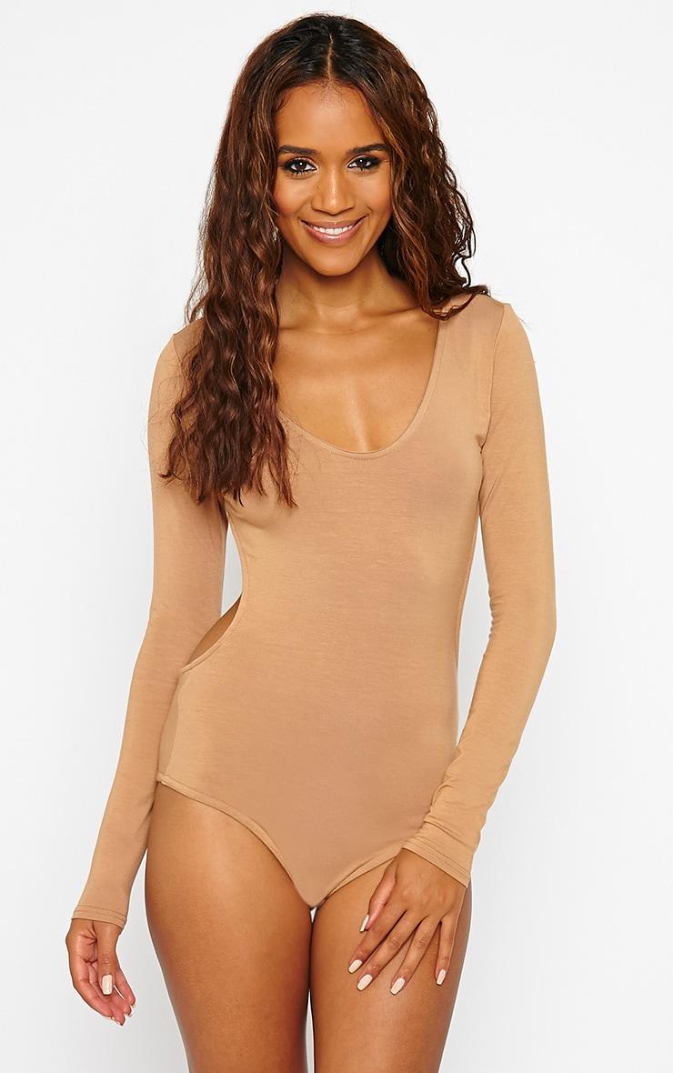 Basic Camel Backless Jersey Bodysuit 5