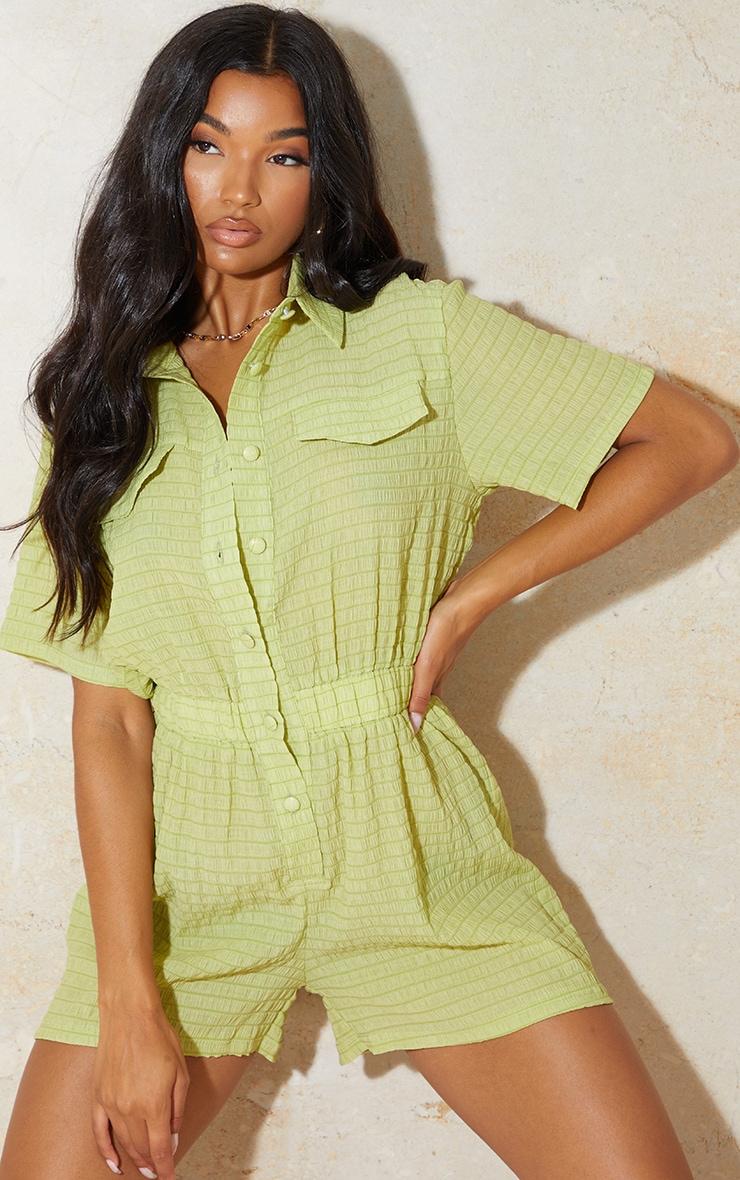 Lime Crinkle Stripe Short Sleeve Shirt Romper 1