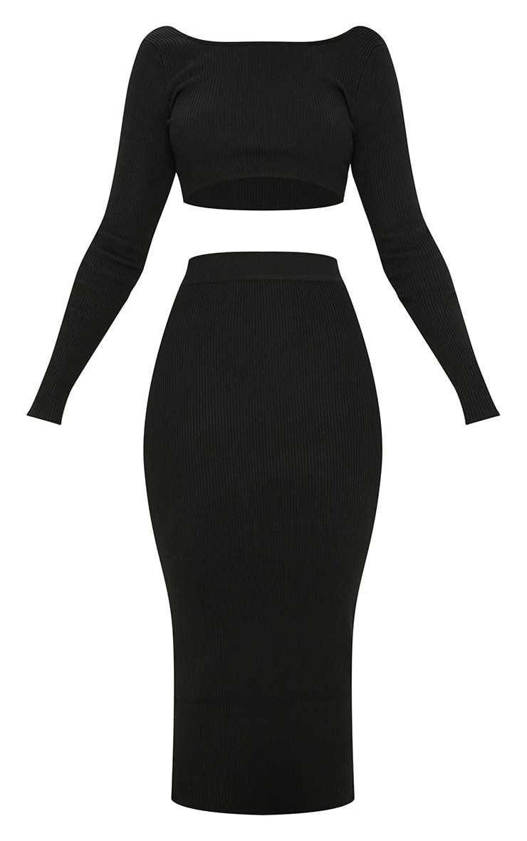 Black Knitted Midi and Crop Co Ord 3