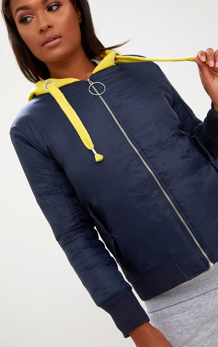 Navy Sweatshirt Hooded Bomber Jacket 4