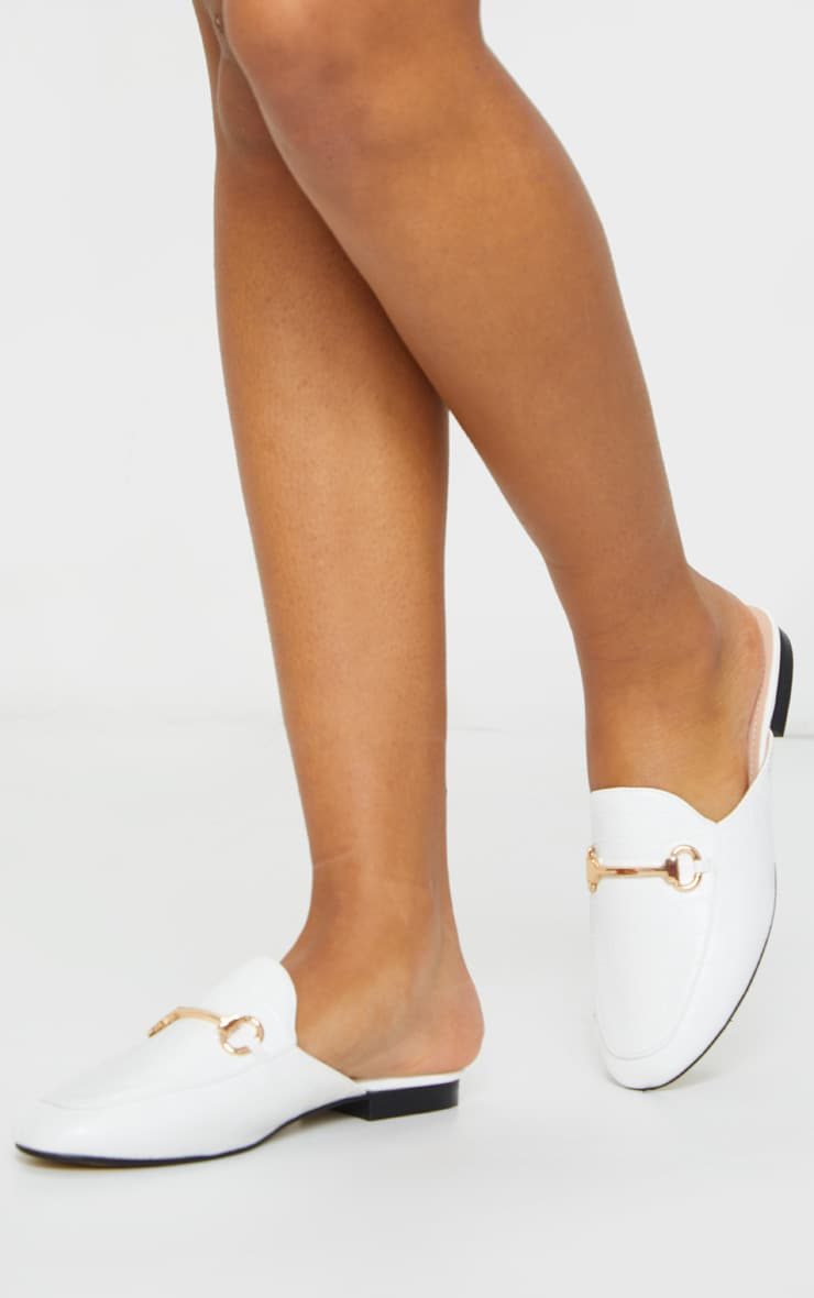 White Croc PU Ring Trim Mules 3
