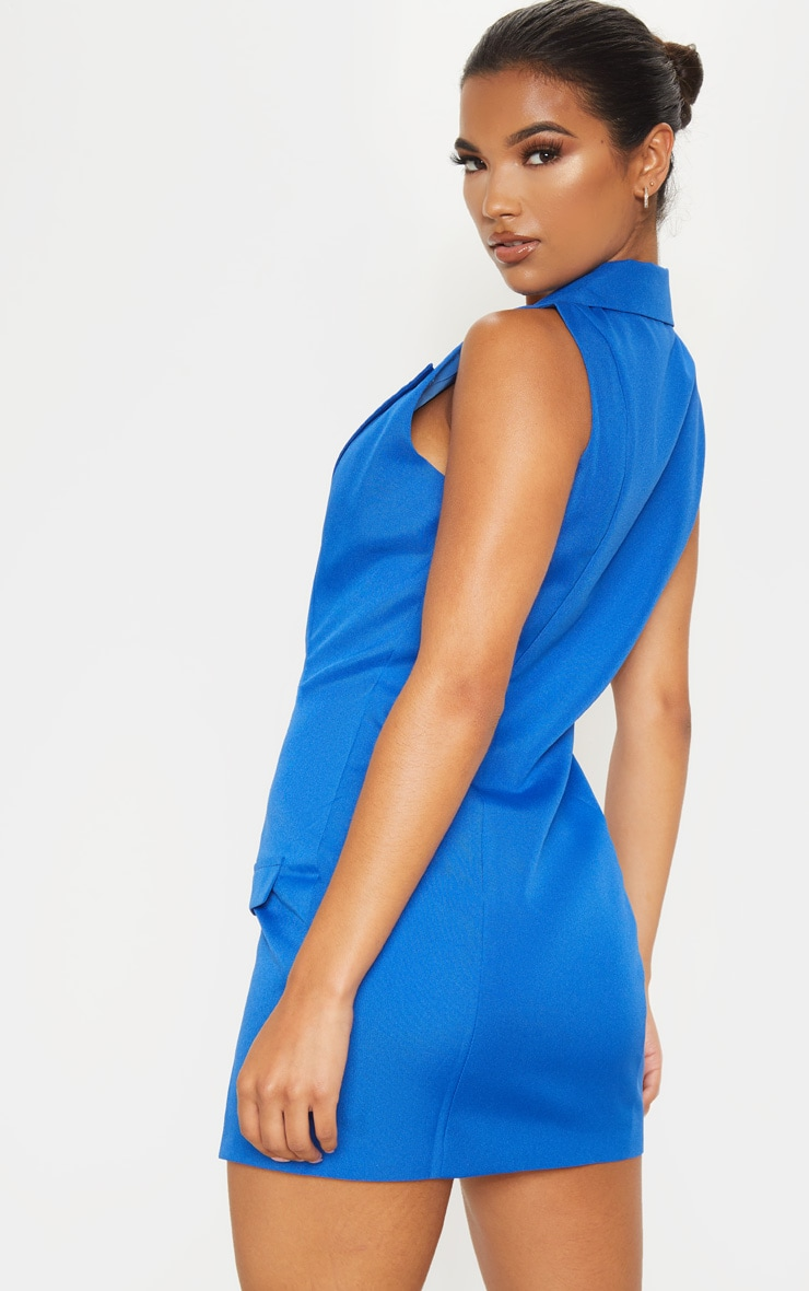 Cobalt Extreme Plunge Sleeveless Blazer Dress 2