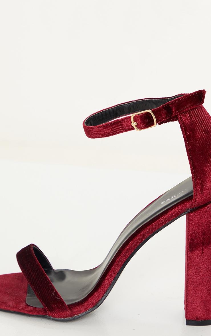 Deep Red May Velvet Heeled Sandals 4