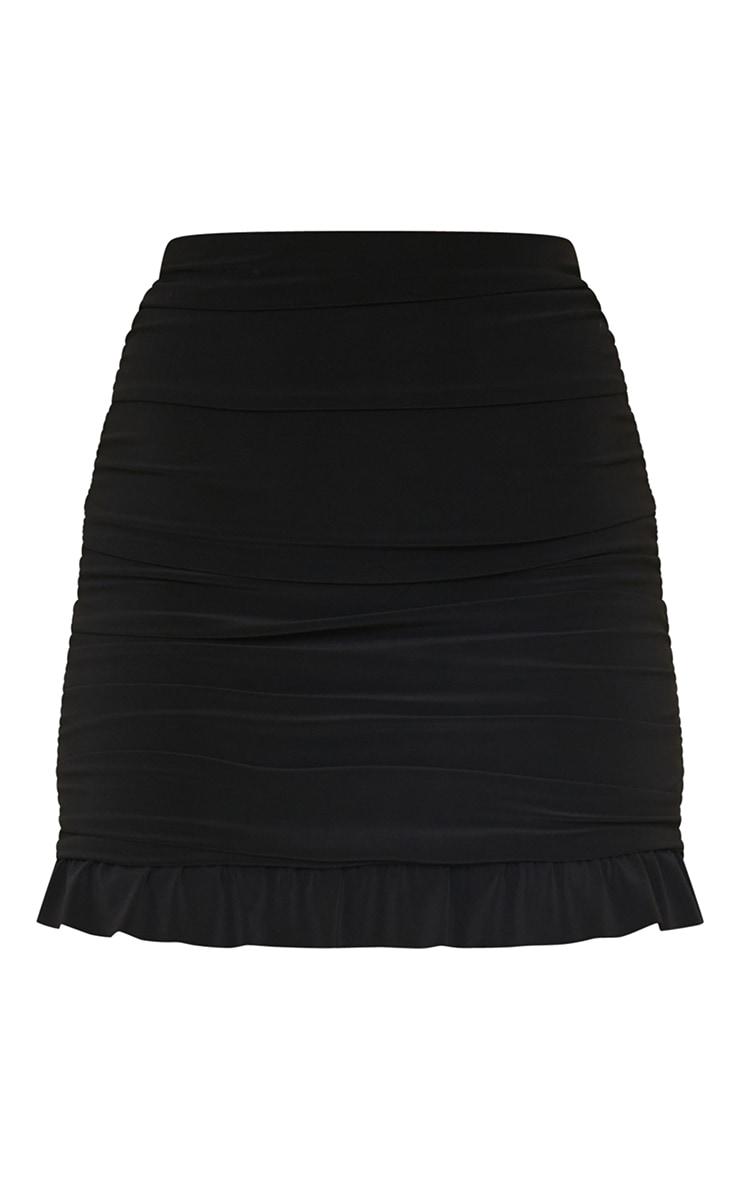 Black Slinky Ruched Side Frill Panel Hem Mini Skirt 6