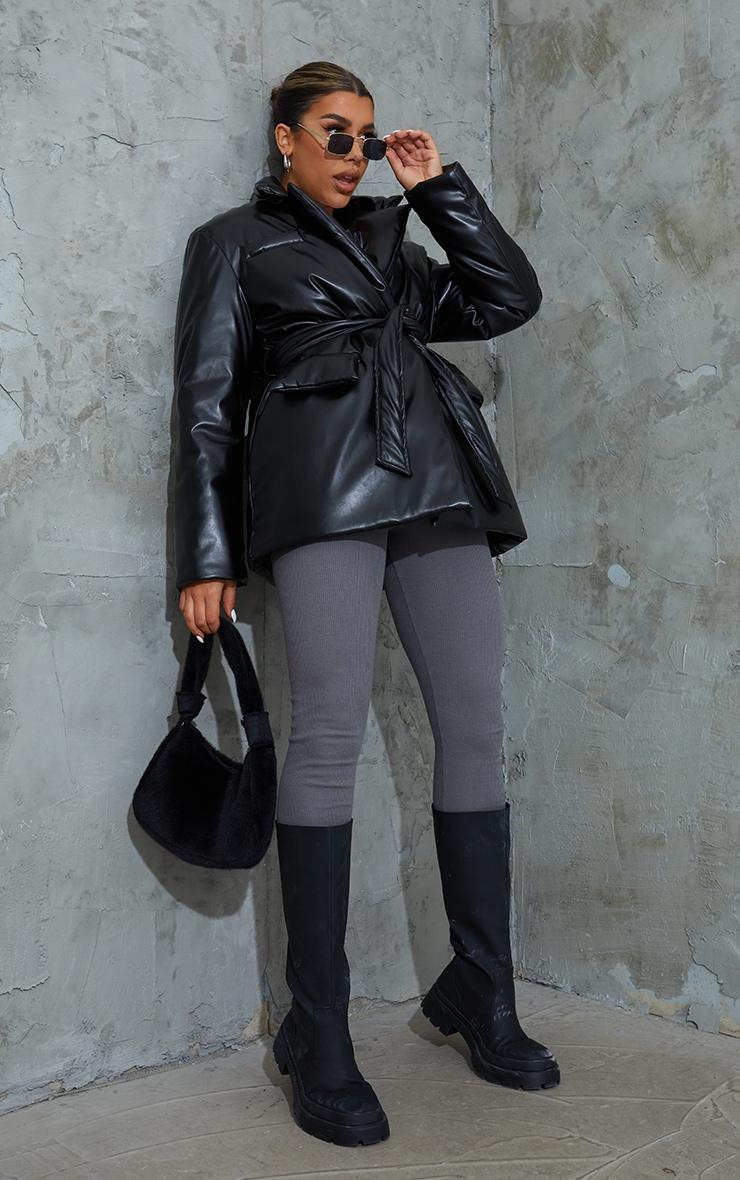Black PU Belted Padded Blazer Style Puffer Coat 3