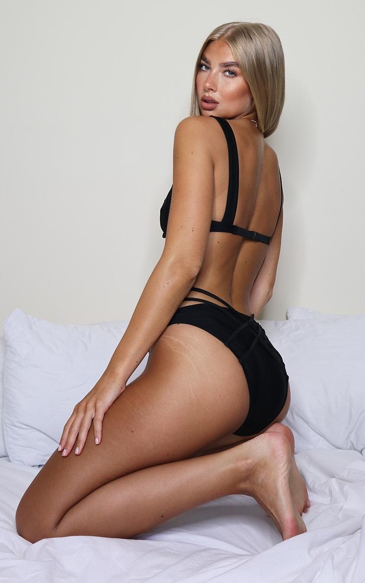 Black Underwired Strappy Bikini Top 3