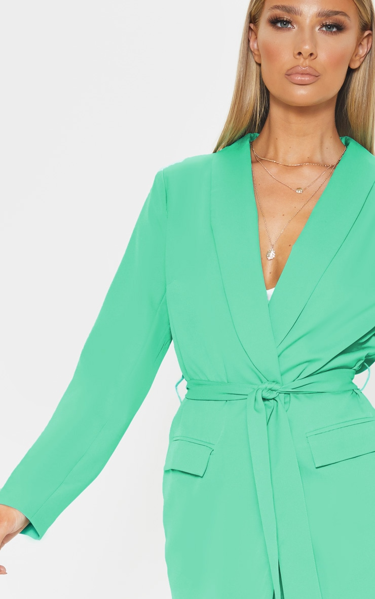 Green Belted Longline Woven Blazer    5