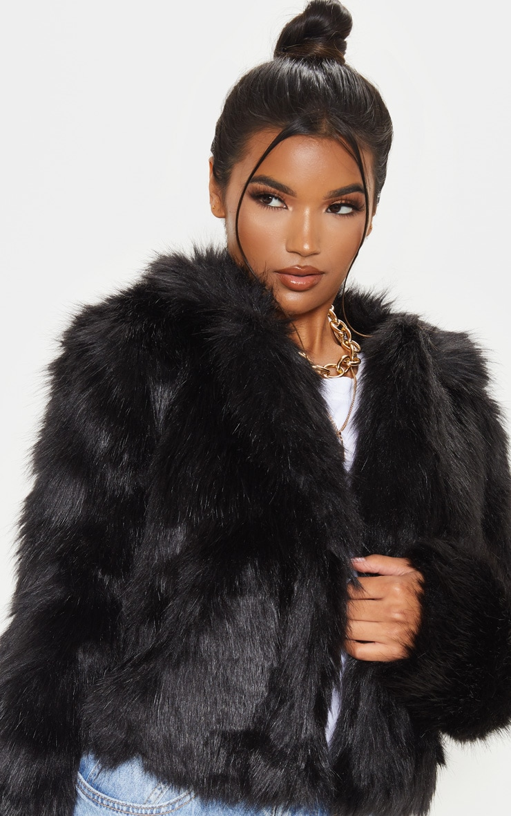 Black Faux Fur Jacket 5