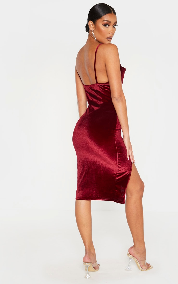 Burgundy Velvet Strappy Cowl Neck Split Detail Midi Dress 2