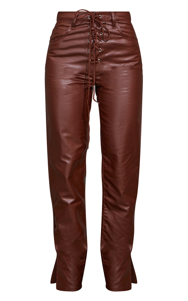 Chocolate Lace Front Coated Split Hem Jeans 5