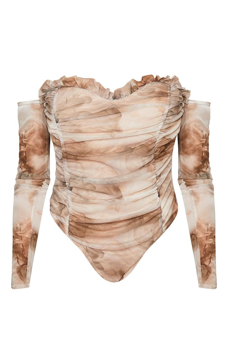 Nude Smoke Printed Mesh Ruched Bardot Bodysuit 5