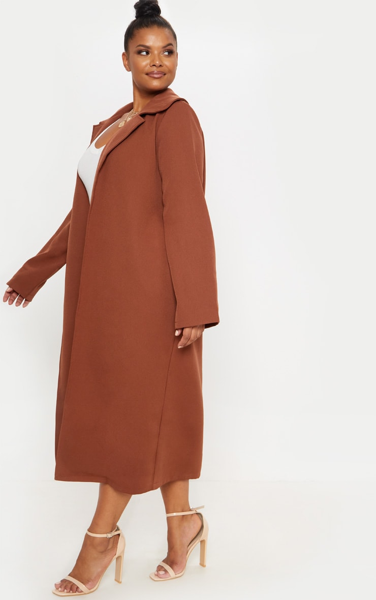Plus Chocolate Brown Longline Duster Coat 4