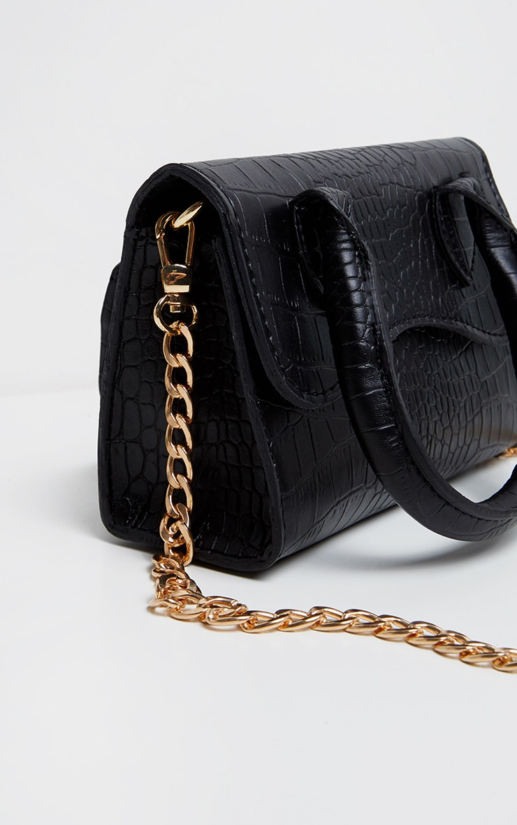 Black Croc PU Mini Cross Body Bag 2
