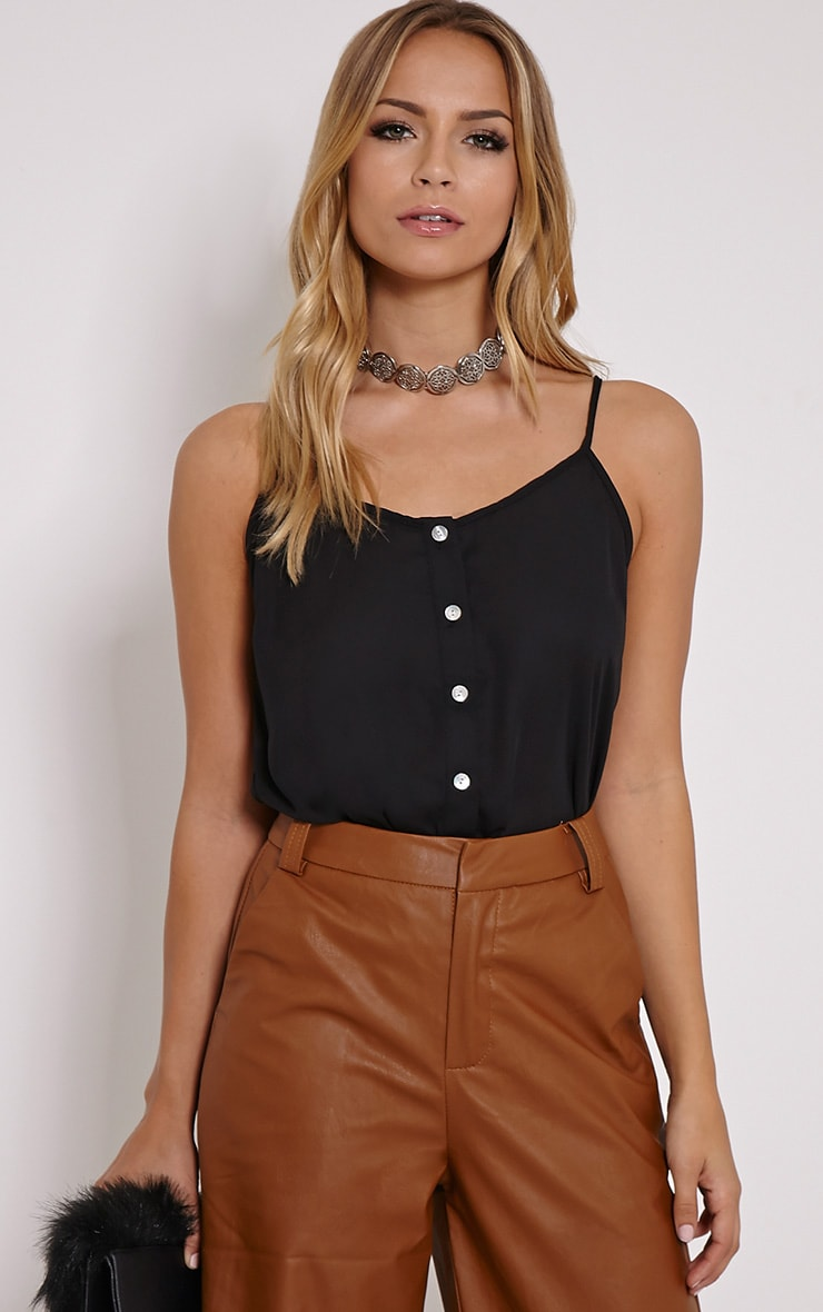 Mara Black Button Up Cami  1