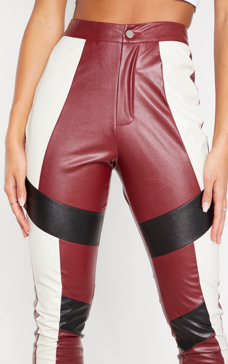 Burgundy Faux Leather Contrast Panel Skinny Trouser 5